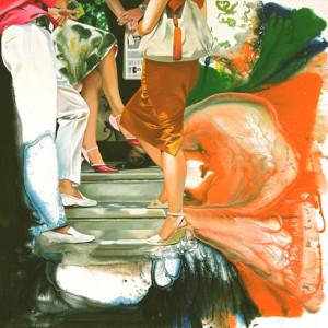 Auf der Treppe ungerührt, Öl auf Leinwand | Oil on Canvas, 140 x 140 cm, 2007