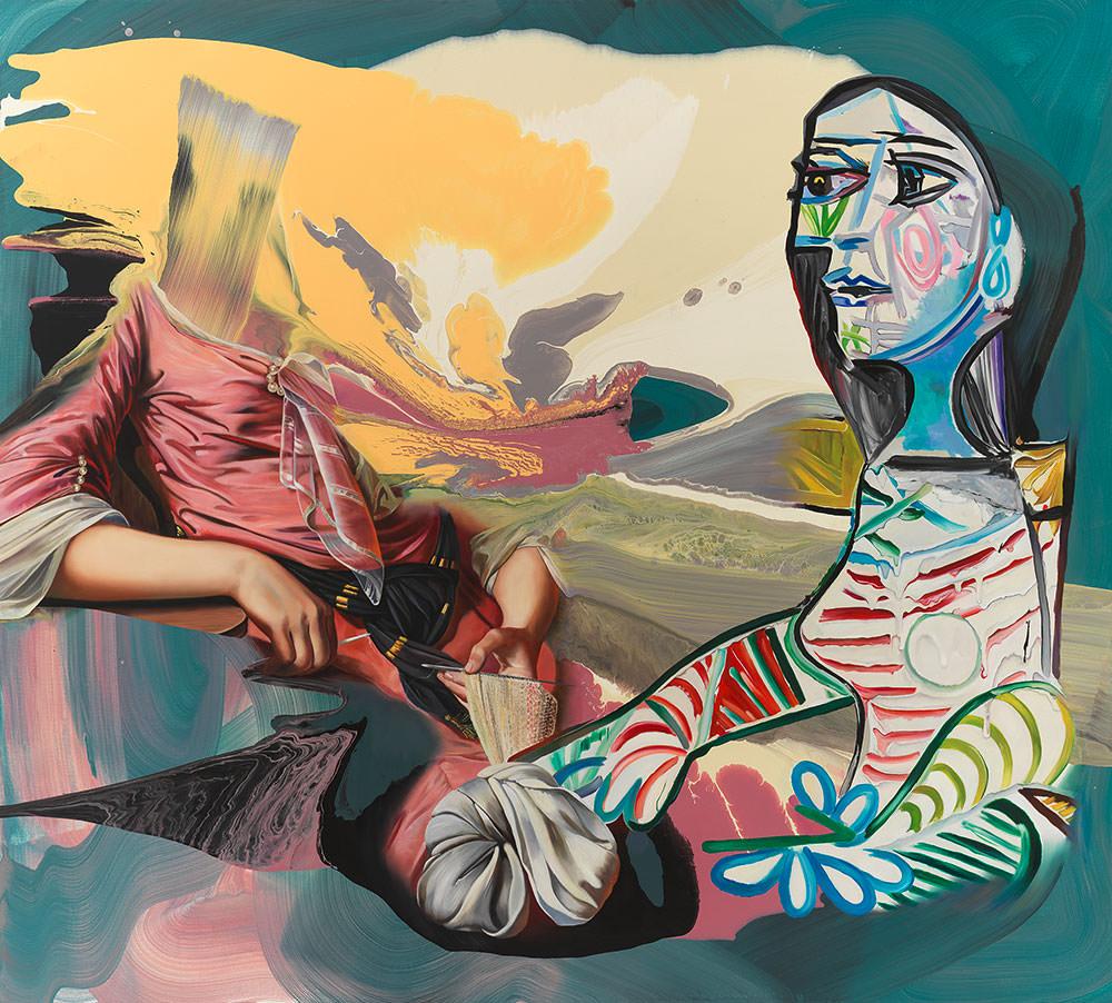 Strong Arms, 2019, Öl und Mischtechnik auf Leinen | Oil and mixed media on canvas, 180 x 200 cm