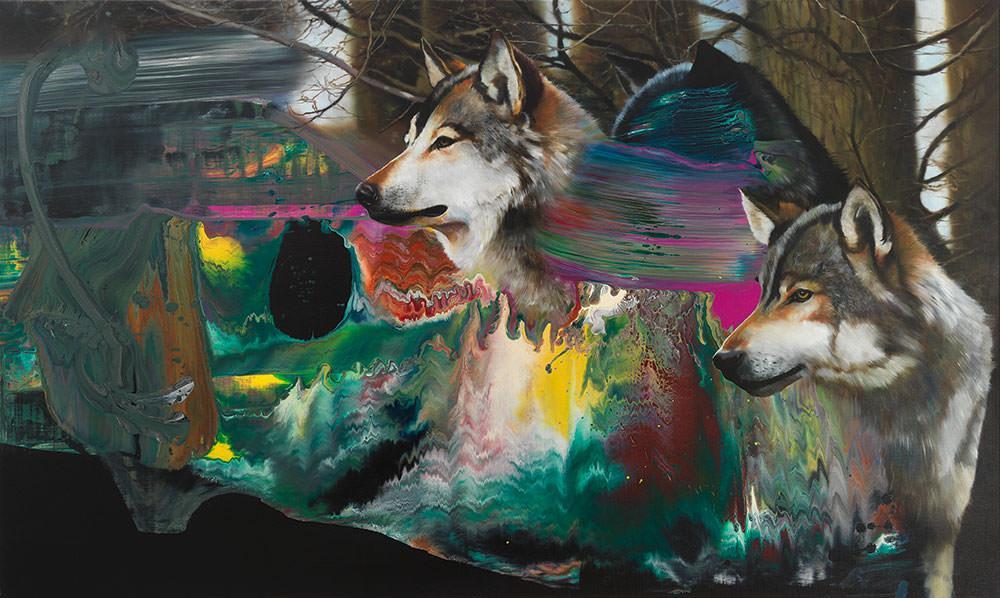 100% Vegan Wolfes 2, 2019, Öl und Mischtechnik auf Leinen | Oil and mixed media on canvas, 120 x 200 cm